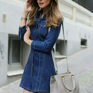 Zara premium denim collection button down dress S